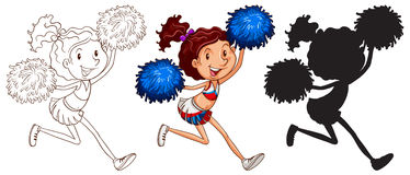 Sketches of a cheerdancer. Illustration of the sketches of a cheerdancer on a white background Royalty Free Stock Photography