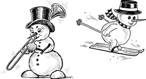Sketches of the cheerful christmas snowmen Royalty Free Stock Photography