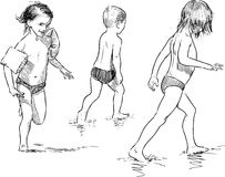 Sketches of the children on the beach Royalty Free Stock Photography