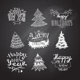 Sketches Christmas trees Stock Photos