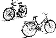 Sketches of the city bicycles. Vector drawing of the bikes for a walks Stock Photos