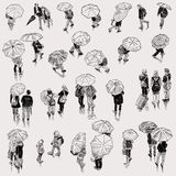 Sketches of the city dwellers in the rainy weather Royalty Free Stock Images