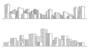 Sketches of city silhouettes Royalty Free Stock Photo