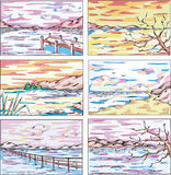 Sketches of coastal landscapes Royalty Free Stock Photography