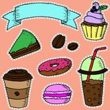 Hand-drawn coffee and dessets stickers. Royalty Free Stock Image