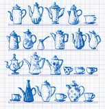 Sketches of coffee objects. Stock Photo