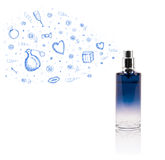 Sketches coming out from beautiful perfume bottle Stock Photography