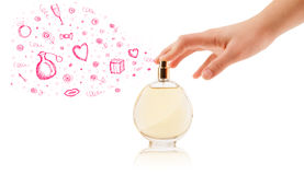Sketches coming out from beautiful perfume bottle Stock Photos