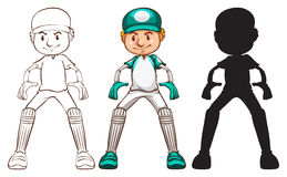 Sketches of a cricket player in different colours Stock Images