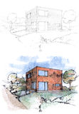 Sketches of a cubic house Stock Photography
