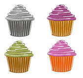 Sketches of cupcake Stock Image