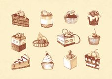 Sketches of cupcakes, berry pie and chocolate tiered cake. Sketches of scrumptious cupcakes, berry pie and chocolate tiered cake, decorated by butter cream Stock Photos
