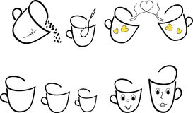 Sketches of cups Royalty Free Stock Photo