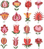 Sketches of the decorative flowers Stock Photos