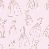 Sketches design dress hand drawn pen illustration. Sketches design dress hand drawn illustration seamless pattern Royalty Free Stock Photos