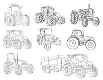 Sketches of tractors. Sketches of different models of farmer tractors Royalty Free Stock Photo