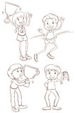Sketches of the different winners Royalty Free Stock Photo