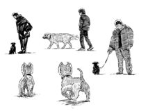 Sketches of dogs on walk with their owners. Hand drawings of dogs and their owners going for a stroll vector illustration