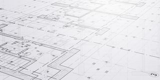 Sketches and drawings of architecture. Modern building. Industry, business and technology concept illustration. Black lines on wihte background stock photography