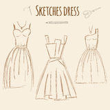 Sketches dress hand drawn illustration. Royalty Free Stock Photo