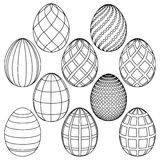 Sketches of Easter eggs for coloring. Vector illustration Stock Photography