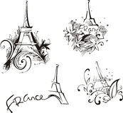 Sketches with Eiffel Tower. Vector set of black and white illustrations Stock Images