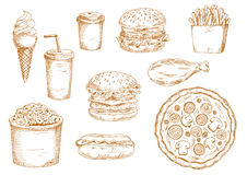 Sketches of fast food and drinks Stock Image