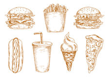 Sketches of fast food snacks Royalty Free Stock Photo