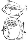 Sketches of fish isolated on white Royalty Free Stock Photos
