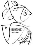 Sketches of fish isolated on white. Background Royalty Free Stock Images