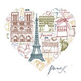 The sketches about France and Paris in the shape of a heart Stock Photography