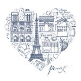 The sketches about France and Paris in the shape of a heart Royalty Free Stock Photo