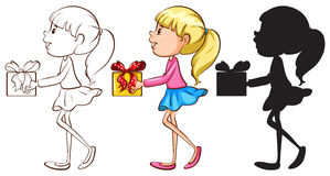 Sketches of a girl holding a gift in different colours Royalty Free Stock Images