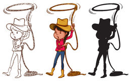 Sketches of a girl holding a rope Stock Photos