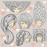 Sketches of girls with different hairstyles Stock Image
