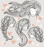 Sketches of girls with different hairstyles Stock Photo