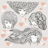 Sketches of girls with different hairstyles Royalty Free Stock Photos