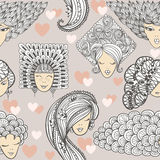Sketches of girls with different hairstyles. Seamless pattern Stock Image