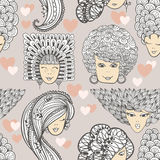 Sketches of girls with different hairstyles. Seamless pattern Royalty Free Stock Image
