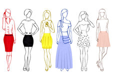 Sketches of girls in skirts Royalty Free Stock Photo