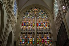 Sketches on the glass window at St. Saviours Cathedral (Sint Sal royalty free stock image