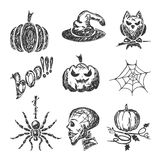 Sketches Halloween icons Royalty Free Stock Photos