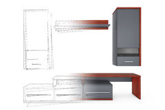 From Sketches Hand Drawing Idea to Modern Living Room Wall Unit. Royalty Free Stock Images