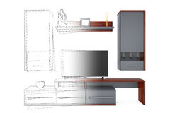 From Sketches Hand Drawing Idea to Modern Living Room Wall Unit. Royalty Free Stock Photo