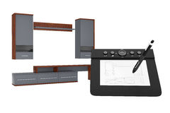 From Sketches Hand Drawing Idea to Modern Living Room Wall Unit. Royalty Free Stock Image