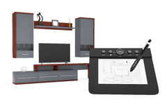 From Sketches Hand Drawing Idea to Modern Living Room Wall Unit. Royalty Free Stock Photos