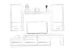Sketches Hand Drawing of Modern Living Room Wall Unit. 3d Render Royalty Free Stock Images