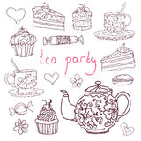 Sketches  hand-drawn tea party elements. Vector illustration. Vintage collection of desserts. Sketches hand-drawn of tea cups, kettle and desserts. Vector Stock Photo
