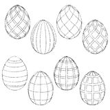 Sketches handmade Easter eggs for coloring. Vector illustration Stock Photo