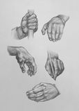 Sketches of Hands Royalty Free Stock Photography